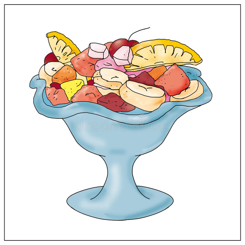 Fruit salad with food, books,. Children, animals drawings small vector illustration