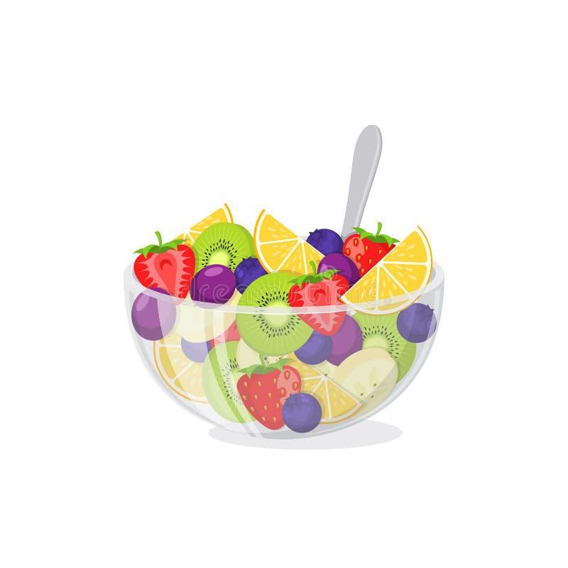 Fruit salad in glass bowl stock illustration