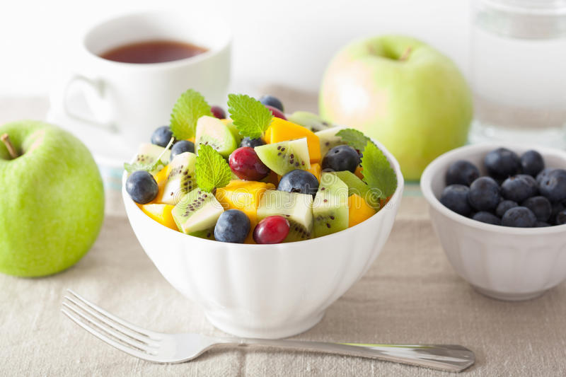 Fruit salad with mango kiwi blueberry for breakfast. A fruit salad with mango kiwi blueberry for breakfast royalty free stock images