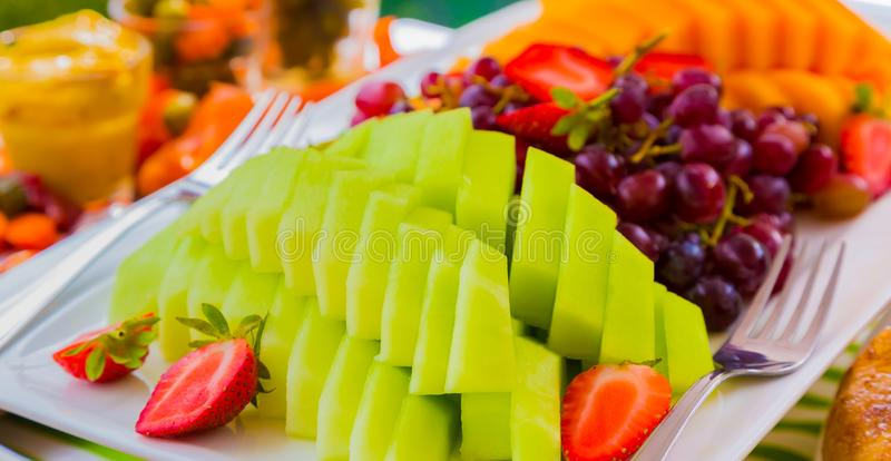 Fruit salad at Spring Festival picnic event. Fruit salad Platter on display at Spring Festival picnic event stock photography