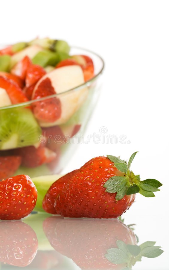 Fruit salad with strawberry stock photo