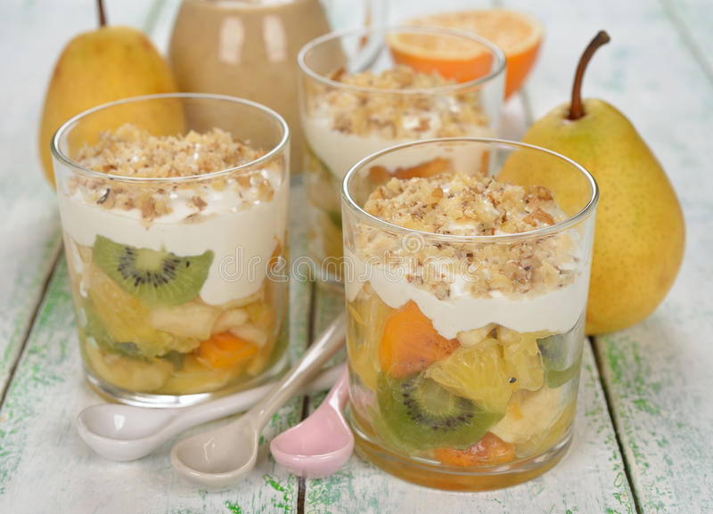fruit salad with whipped cream stock photo  image of