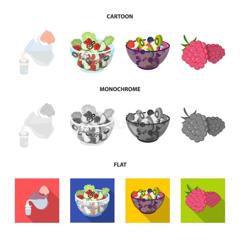 Fruit, salade végétale et d'autres types de nourriture Icônes réglées de collection de nourriture dans la bande dessinée, symbole illustration libre de droits