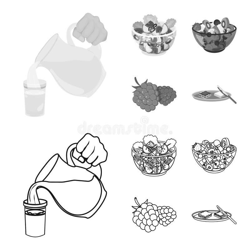 Fruit, salade végétale et d'autres types de nourriture Icônes réglées de collection de nourriture dans le contour, symbole monoch illustration libre de droits