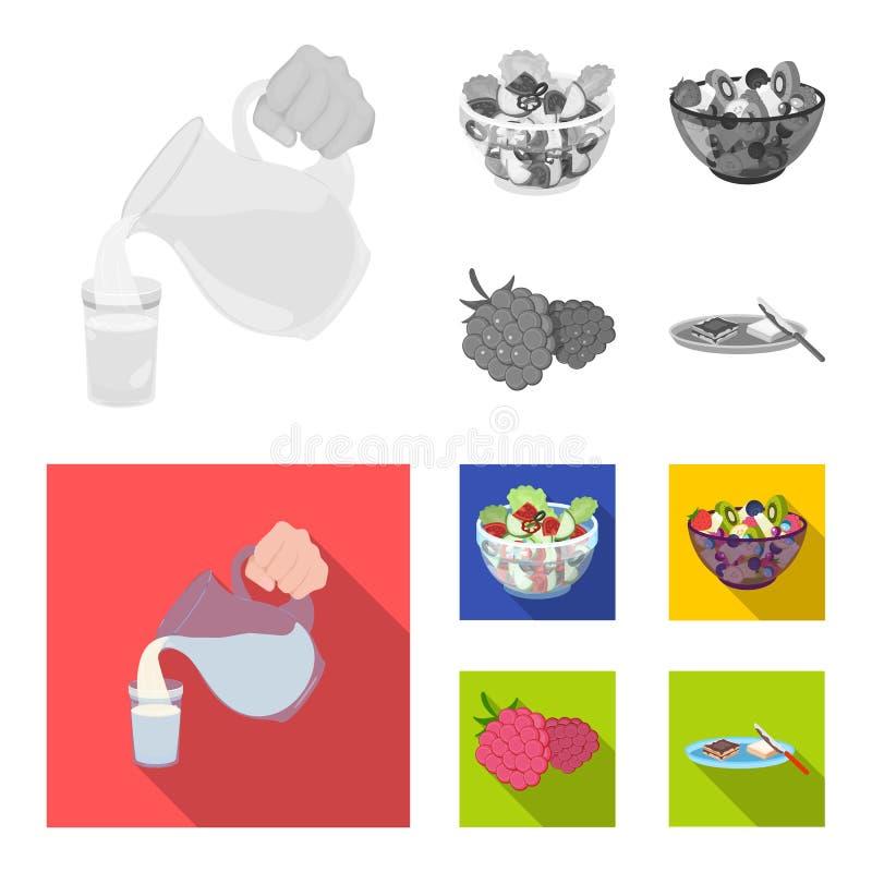Fruit, salade végétale et d'autres types de nourriture Icônes réglées de collection de nourriture en stock monochrome et plat de  illustration de vecteur
