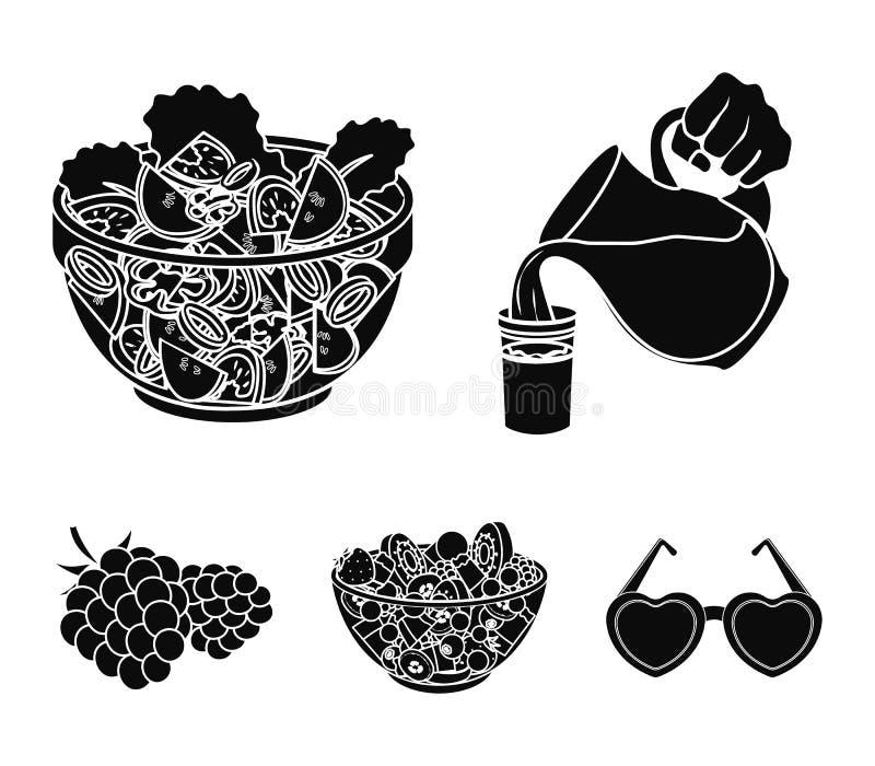 Fruit, salade végétale et d'autres types de nourriture Les icônes réglées de collection de nourriture dans le style noir dirigent illustration de vecteur