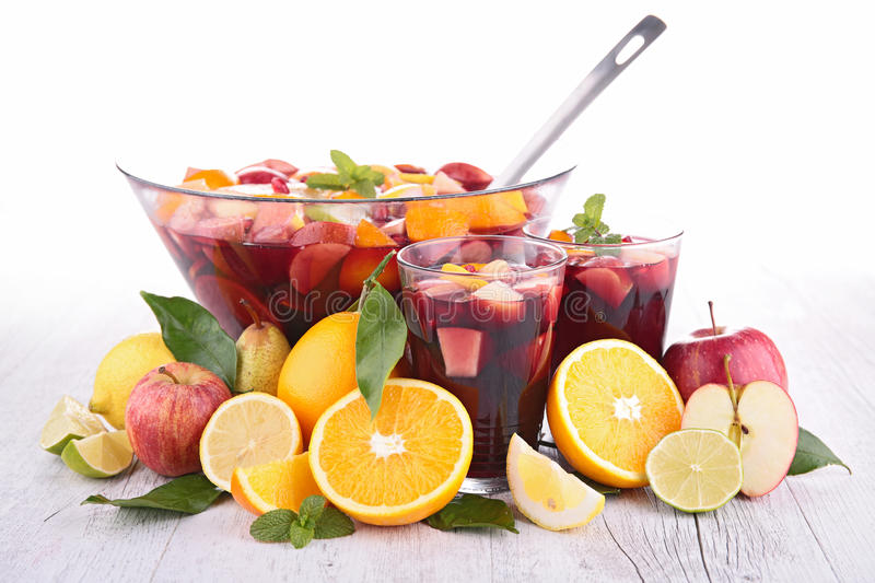 Fruit sangria, punch. And fruits stock photo