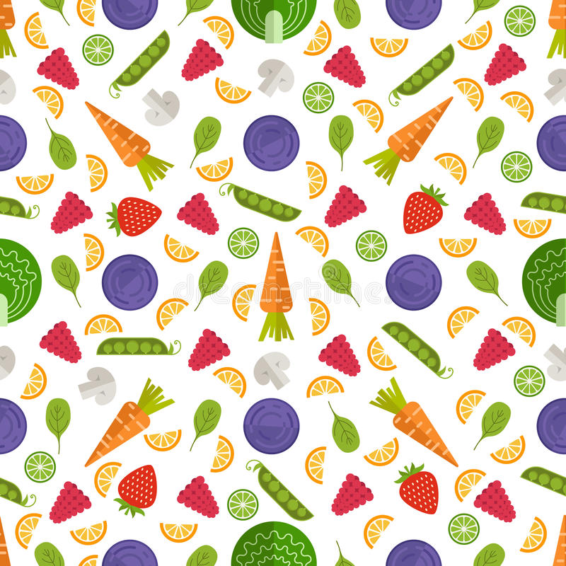 Fruit Seamless Background. Seamless vector background with different fruits and vegetables. Great for restaurant menu backdrop, healthy food concept, juice bar vector illustration