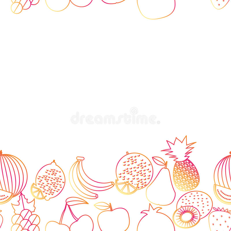 Fruit seamless border pattern. The image of fruits and berries vector illustration