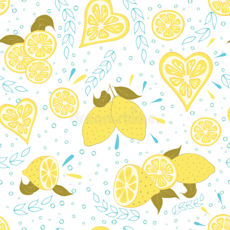 Fruit seamless hand drawn pattern with fresh yellow lemon and leaves. royalty free illustration