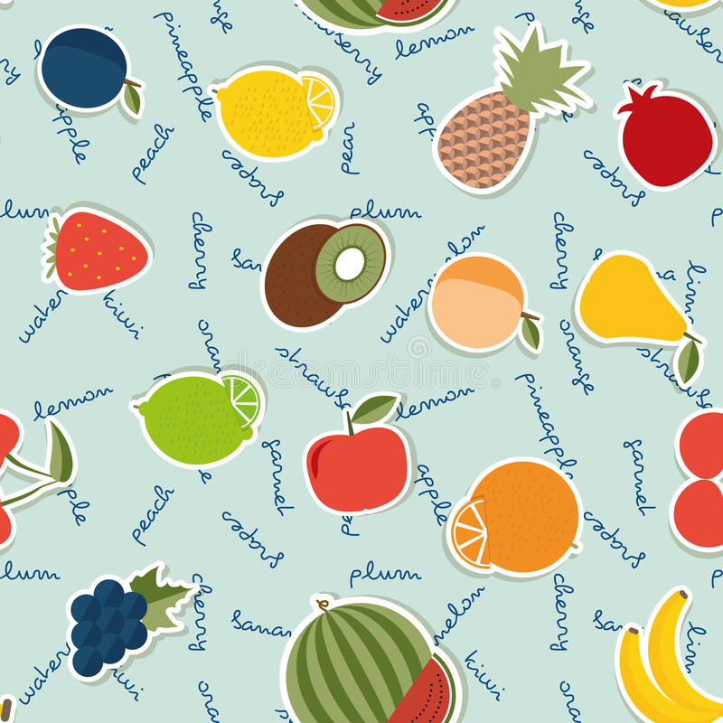 Fruit seamless pattern. The image of fruits and berries stock illustration