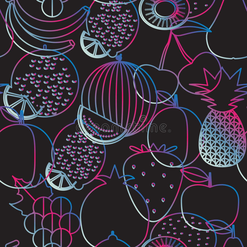 Fruit seamless pattern. The image of fruits and berries royalty free illustration