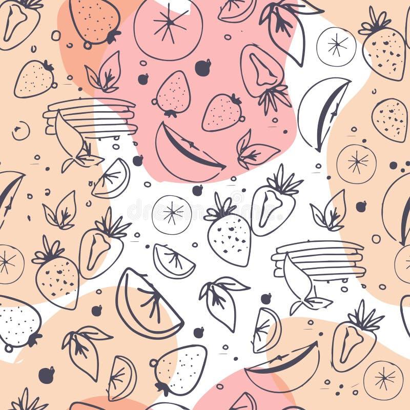 Fruit seamless pattern. Juice, detox water hand drawn background. Vector illustration stock illustration