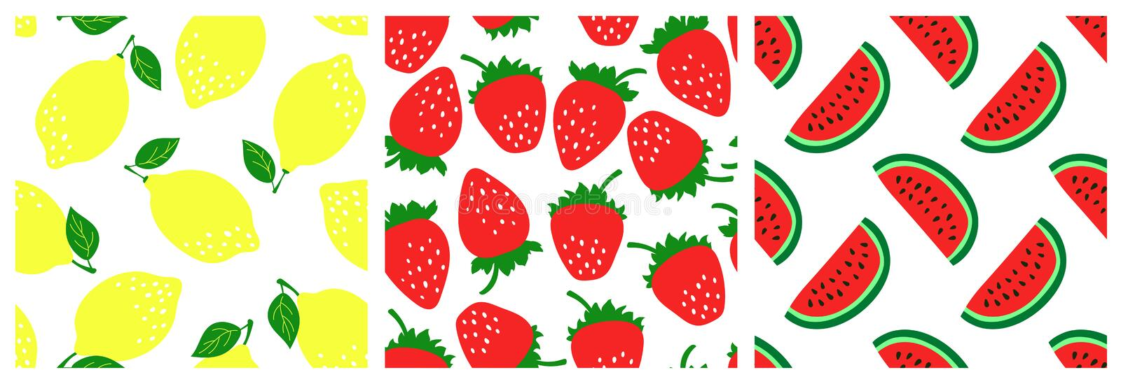Fruit seamless pattern set. Fashion clothing design. Watermelon, strawberry, lemon. Food print for dress, skirt, linens or curtain stock illustration