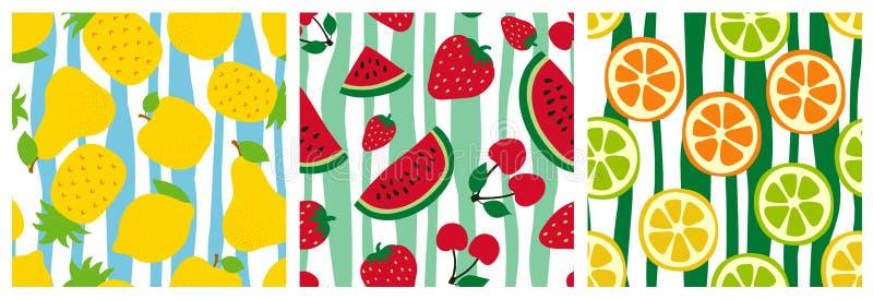 Fruit seamless pattern set. Pineapple, pear, apple, watermelon, cherry, strawberry, orange, lemon and lime. Fashion design. Food stock illustration
