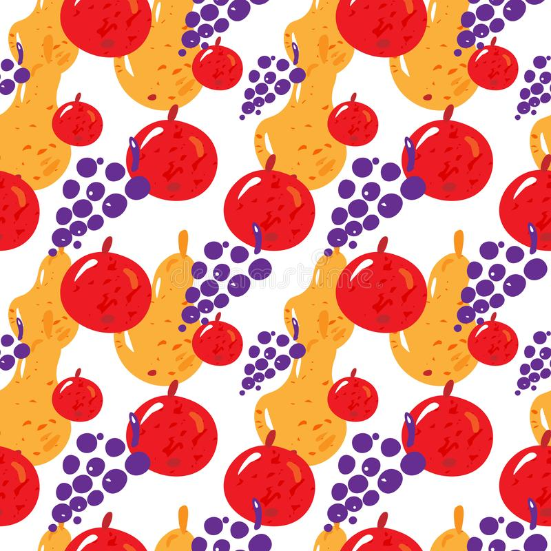 Fruit seamless pattern with yellow pear, red apple and grapes on white background.Vector. Fruit seamless pattern with yellow pear, red apple and grapes on white stock illustration
