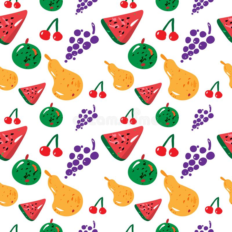 Fruit seamless pattern with yellow pear, watermelon, green apple and grapes on white background. Vector. Fruit seamless pattern with yellow pear, watermelon royalty free illustration
