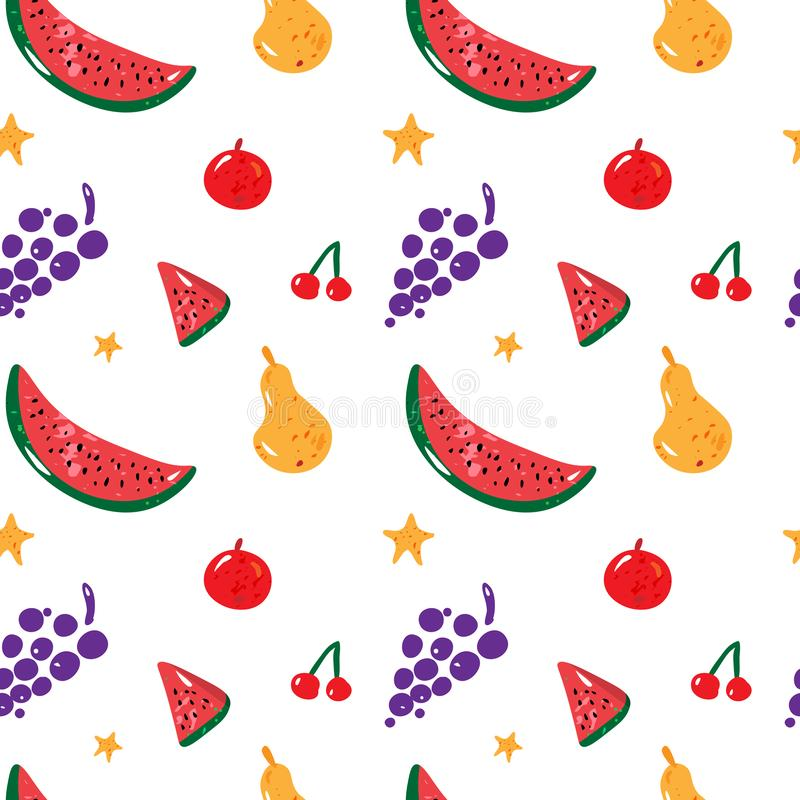 Fruit seamless pattern with yellow pear, watermelon, red apple and grapes on white background. Vector. Fruit seamless pattern with yellow pear, watermelon, red vector illustration