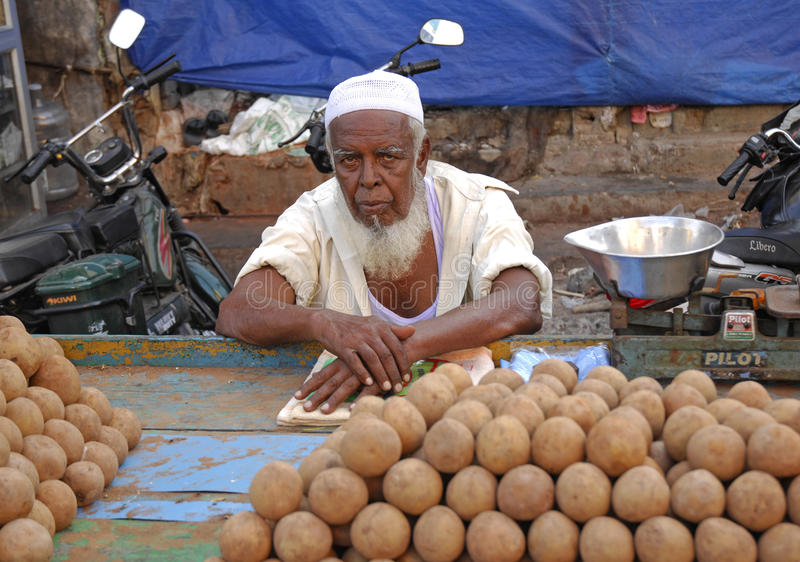 The fruit seller stock photography