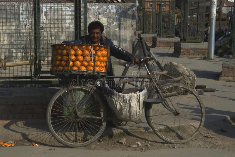 Fruit seller in Kathmandu stock photos