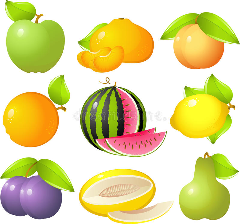 Fruit set. Vector image of 9 delicious and sweet fruit: apple, tangerine, peach, orange, watermelon, lemon, plum, melon and pear! Isolated on white royalty free illustration