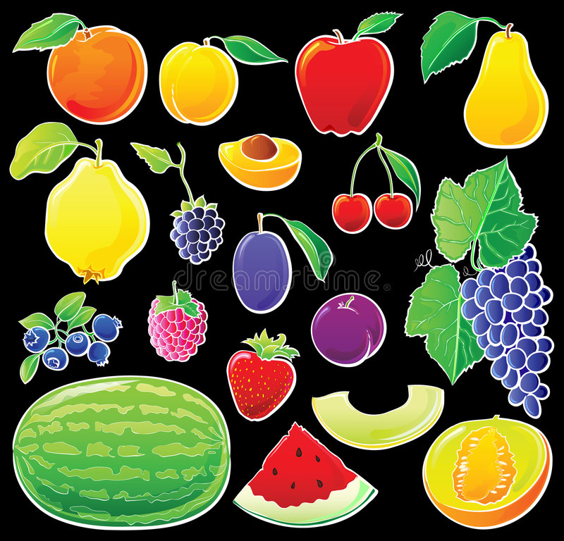 Fruit set on black stock illustration