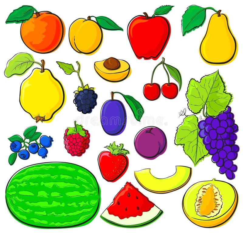 Fruit set with black outlines stock illustration