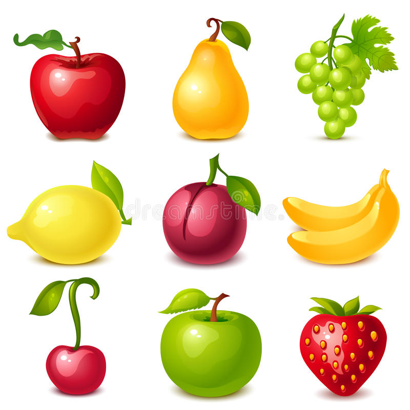Download Fruit set stock vector. Image of diet, cartoon, healthy - 32673389