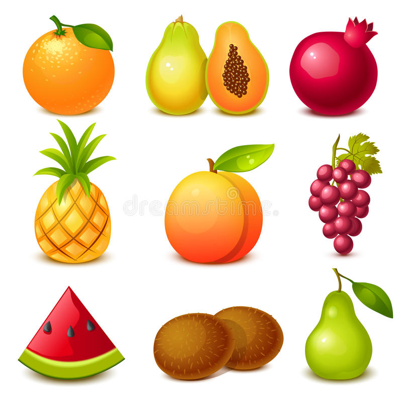 Fruit set. Set of 9 glossy fruit icons