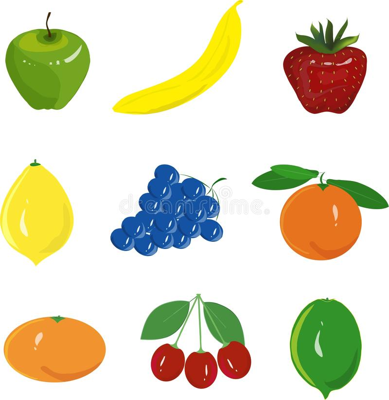 Fruit set. Green apple, yellow banana, red strawberry, yellow lemon, blue grapes, orange, tangerine, cherry, on a white background. Fruit set. Green apple royalty free illustration