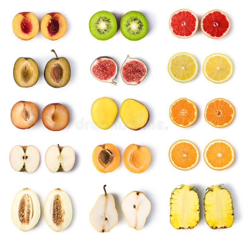 Fruit set isolated on white. Background stock images