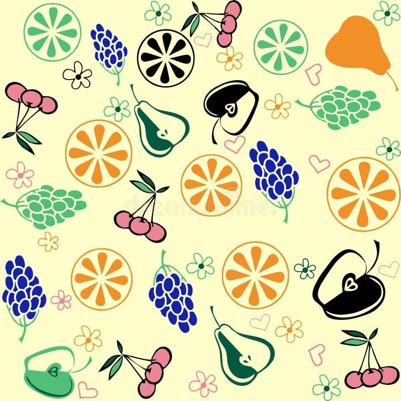 Fruit set pattern , nature fruit background. Fruit set pattern nature fruit background stock illustration