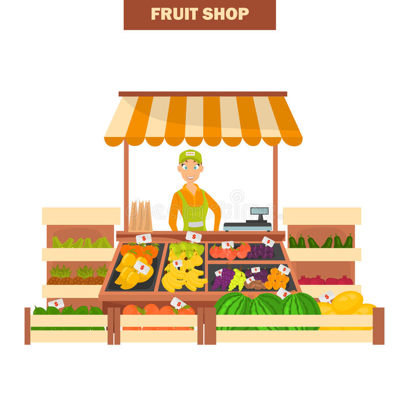 Fruit shop illustration isolated on white backgroun for web and moible design. Fruit shop illustration isolated on white backgroun royalty free illustration