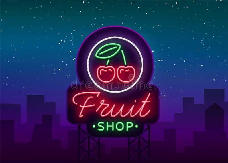 Fruit shop logo vector. Neon sign, bright nightlife advertising for fruit sales for your projects. Fruit Shop Billboard stock illustration