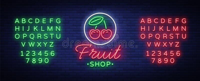 Fruit shop logo vector. Neon sign, bright nightlife advertising for fruit sales for your projects. Fruit Shop Billboard vector illustration