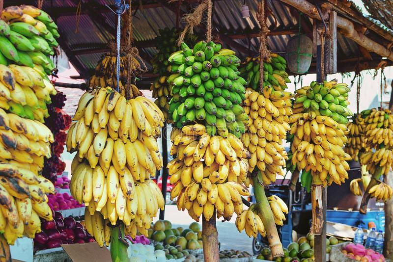 Fruit shop on Sri Lanka Street with variety of products and large branches with bananas. Agricultural products in Asia. Toned instagram style stock images