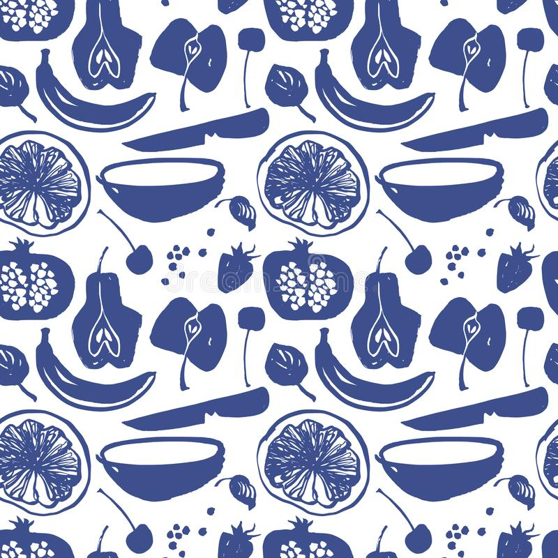 Fruit silhouettes pattern in blue color. stock illustration