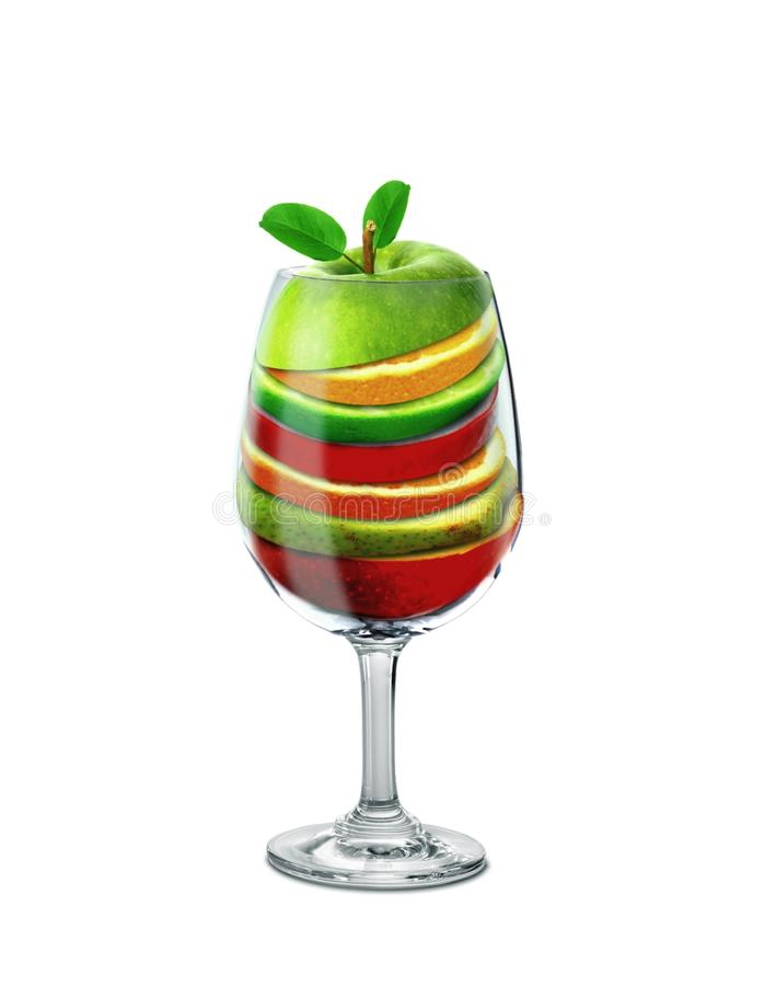 Fruit Slices in a Drinking Glass stock photos