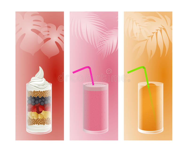 Fruit, smoothie and ice. Fruit smoothie and iced with flag background vector illustration