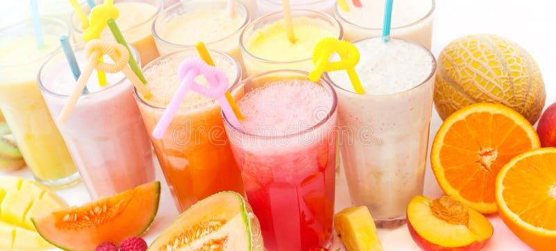 Fruit smoothie inzameling royalty-vrije stock afbeelding