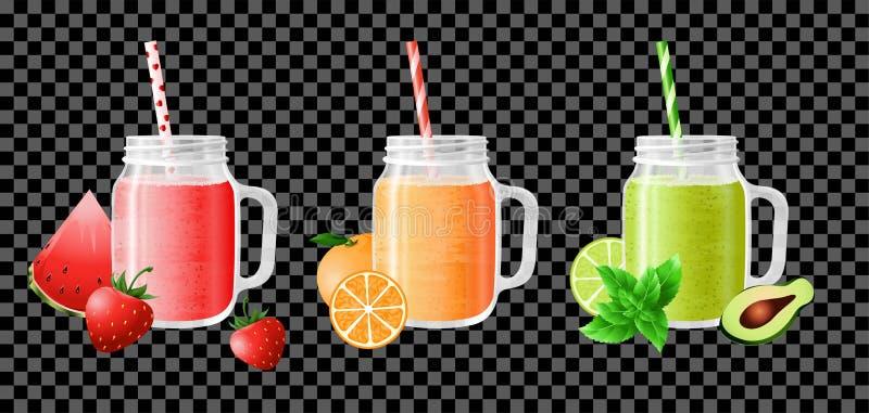 Fruit smoothie in kruiken stock illustratie