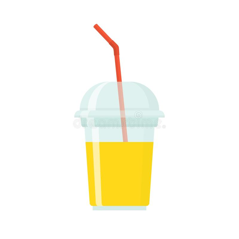 Fruit smoothie in plastic cup on white background. stock illustration