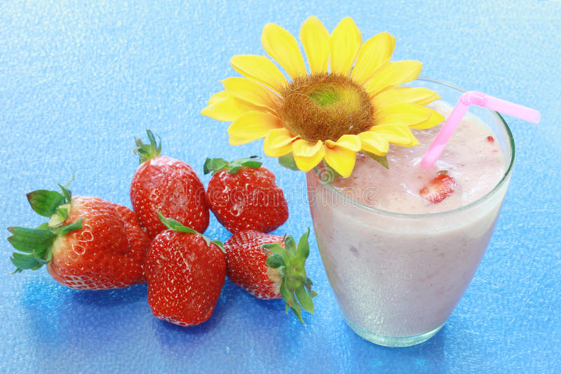 Fruit smoothies. Mixed fruit smoothies with fresh strawberry stock images