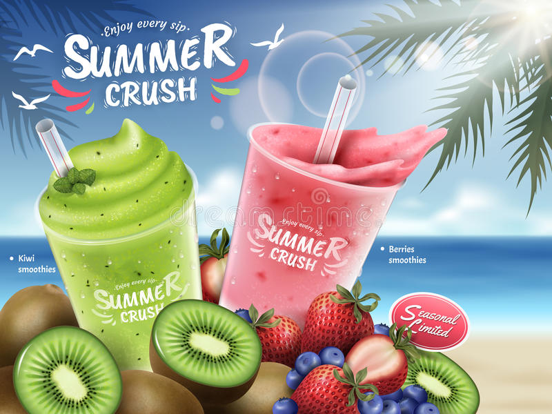 Fruit smoothies ads. Kiwi and berries smoothie cup and bunch of fruits isolated on bokeh beach background in 3d illustration stock illustration