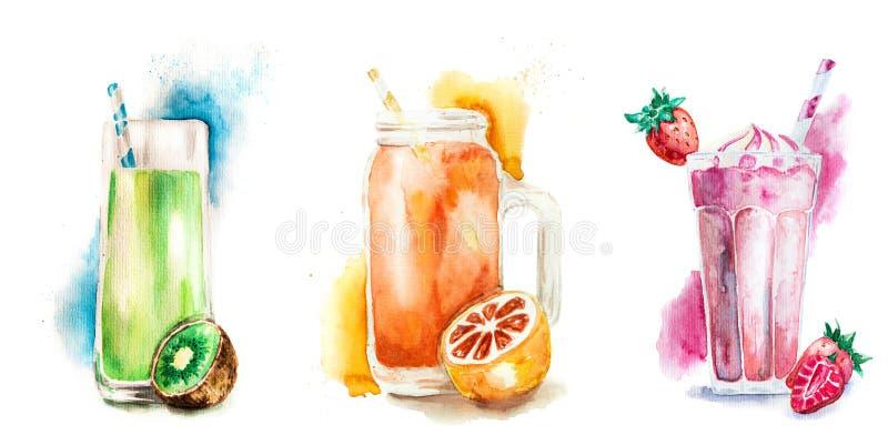 Fruit smoothies of milkshaken die met fruit worden verfraaid dat op witte waterverfillustratie wordt geïsoleerd vector illustratie