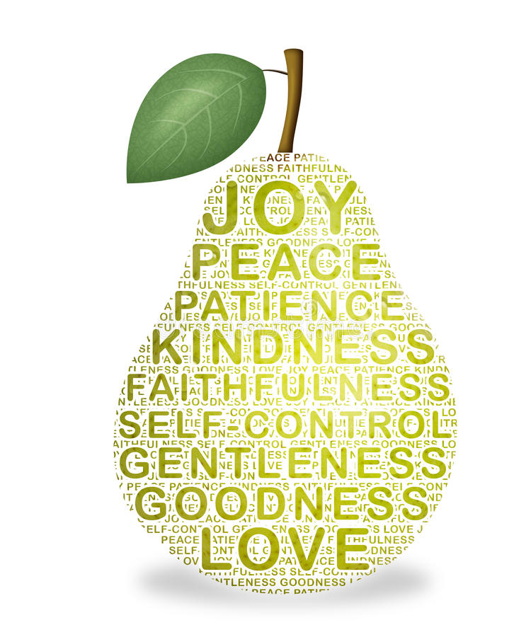 Fruit of the Spirit. Pear representing the fruit of the Holy Spirit stock illustration