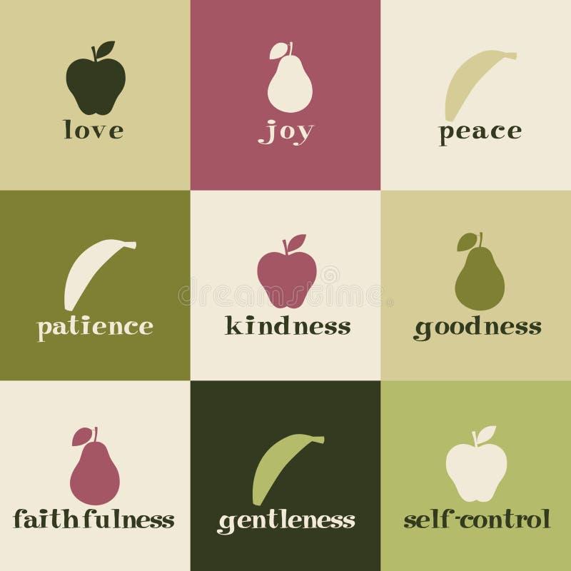 Fruit of the Spirit. Tiles depicting fruit of the Holy Spirit stock illustration