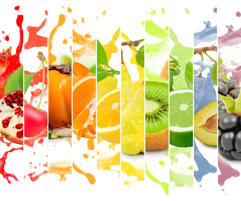 Fruit splash. Rainbow colorful fruit stripe collection with splash on white background