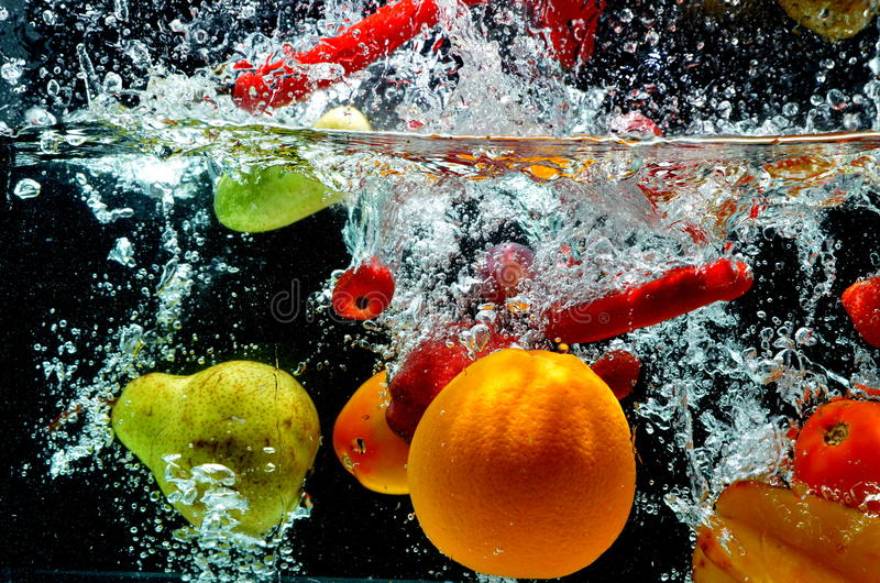 Download Fruit Splash on water stock image. Image of isolated - 25978241