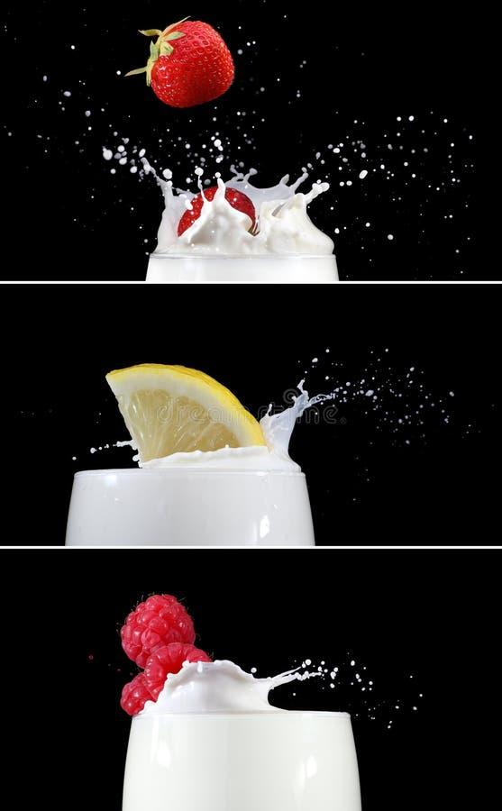 Fruit Splashing Into Milk Stock Images